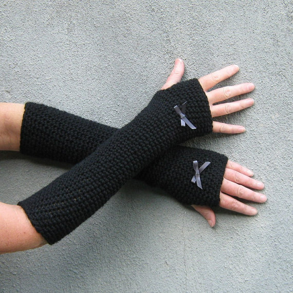black long witch gloves
